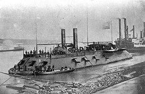 The USS Cairo, an example of a Civil War gunboat.