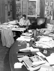 Louis Bromfield back at his writing desk.