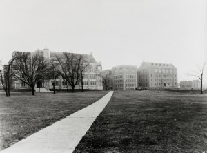 Hamilton Hall and Starling Loving Hospital on the OSU campus in the 1920s (photo courtesy of OSU archives).