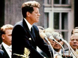 John Kennedy speaking in Berlin.