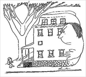 A well-known example of one of Thurber's cartoons.