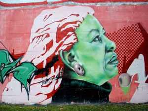 Mural in Vitoria, Spain depicting Toni Morrison (photo by Zarateman).