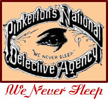 "Logo of the Pinkerton Detective Agency. The logo helped give rise to the term ""private eye."""