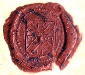 The seal of William Stoughton, the judge who oversaw the Salem Witch Trials. This seal was affixed to the execution warrant for accused witch Bridget Bishop.