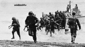 U.S. Marines landing on Guadalcanal.