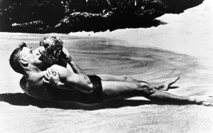 Deborah Kerr and Burt Lancaster in the famous beach scene from the film version of From Here To Eternity.