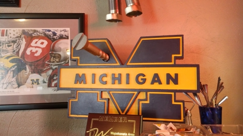 """Screw Michigan"" display at Woody's Tavern in Wapakoneta, Ohio. One of the great college football rivalries in the United States."