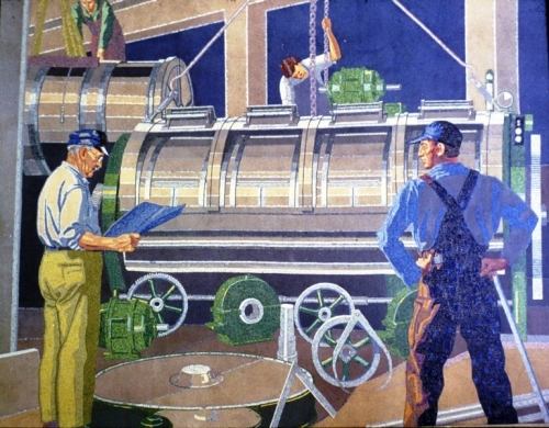 Winold Reiss Art Deco mural of workers at the American Laundry Machine Company in Cincinnati, Ohio during the 1930s. (Photo: Enquirer.com)