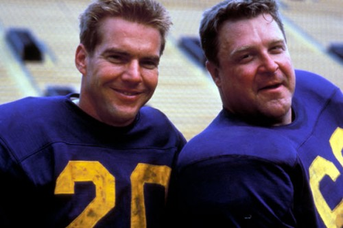 "Dennis Quaid and John Goodman in the 1988 film ""Everybody's All American,"" based on the novel by Frank DeFord. Quaid is a college hero who makes it to the pros, but finds play at the professional level far different from college, and then has to deal with life later on----after the cheering has stopped. (Photo: Allmovie)"