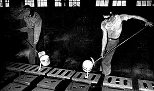 Workers at the Hamilton Foundry in Hamilton, Ohio.