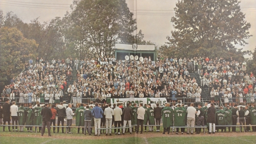 Pep rally in Greenhills, Ohio. Autumn, 1964. (Author's photo of Greenhills High yearbook page(.