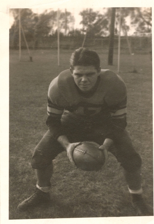 My father, James R. Kerin, as a Mount Vernon High football player in the years before World War II.