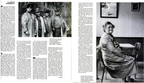Mrs. Groza, mother of Lou and Alex, as featured in the Life Magazine story. At left, industrial workers in the town.