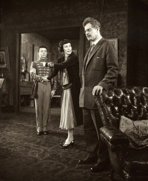 "Timmy Everett, Eileen Heckard, and Frank Overton in a Broadway production of ""The Dark at the Top of the Stairs."""